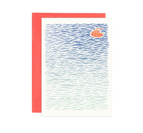 Lost at Sea Illustrated Greeting Card