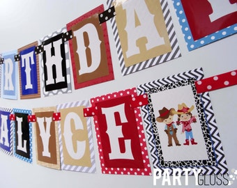 Cowboy Cowgirl Birthday Party Banner Decorations Fully Assembled