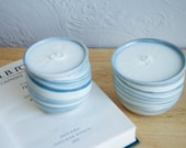 Blue Marble Candles - Set of Two