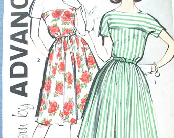 Uncut Early 60s Advance 9811 One-Piece Dress Pattern Vintage Sewing Pattern  Bust 32