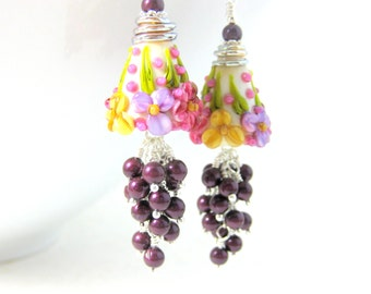 Floral Earrings, Purple Pearl Dangle Earrings, Cluster Earrings, Pink Ivory Purple Yellow Lampwork Earrings, Botanical Statement Earrings
