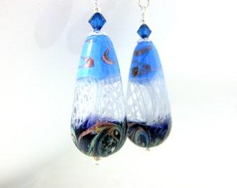 Teardrop Earrings, Blue White Cobalt Earrings, Glass Dangle Earrings, Murano Earrings, Statement Earrings, Murano Jewelry, Sterling Silver