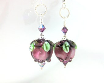 Purple Flower Dangle Earrings, Floral Earrings, Lampwork Earrings, Amethyst Glass Earrings, Nature Earrings, Flower Jewelry, Sterling Silver