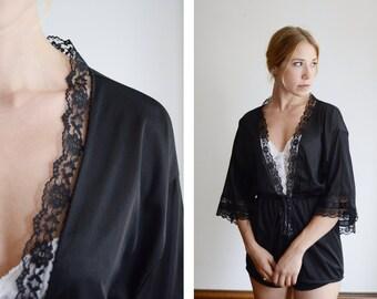 70s/80s Black Nylon Bed Jacket