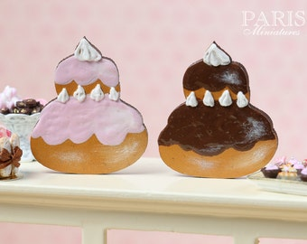 Chocolate or Pink 'French Religieuse' Wooden Decoration / Cutting Board - Hand Painted Miniature in 12th Scale for Dollhouse