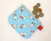Jack Russell Wire Fox Terrier Dogs Puppies Mini Coin Purse Zipper Change Purse Cute Puppy Blue Red Handmade MTO