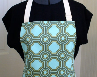 Modern Tiles Mens /  Womens Apron Full Chefs Apron Adjustable Apron Ginseng Joel Dewberry Fabric Square Tiles Aqua Celery Geometric MTO