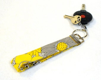 Womens Wristlet Key Fob Fabric Keyring Keychain Yellow Gray Daisy Fabric Handmade