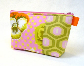Clearance SALE Pansy Polka Fabric Large Cosmetic Bag Zipper Pouch Padded Makeup Bag Cotton Zip Pouch Amy Butler Honeycomb Pink Green Yellow