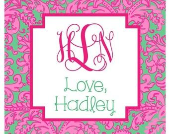 Hot Pink & Green Floral Sticker, Enclosure Card, Book Plate, or Address Label Set