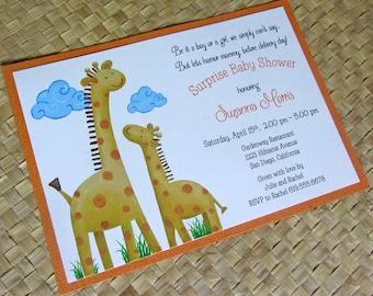 Giraff Baby Shower Invitation, Handmade Baby Shower Invitation, Orange Birthday Invitation, Birthday Party Invitation