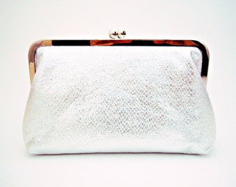 Silver Clutch, Bride Clutch, Bridesmaids Gifts, Faux Leather, Personalized Gift, Winter Wedding Purse