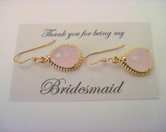 Bridesmaid Jewelry Blush Pink Wedding Earrings in Gold