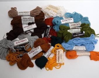 Vintage Guro Tapestry Yarn Wool Blend 18 skeins Plus Partials Made in Norway