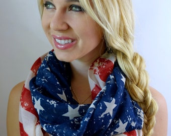 Vintage American Flag Scarf Stars & Stripes scarf Womens Scarf 4th of july Eternity Scarf Circle loop Cowl Infinity Scarf