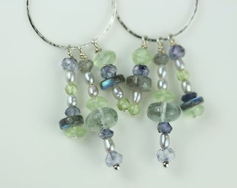 Circle Chandelier Earrings, Hand-forged Sterling silver, blue and green gem dangles-aquamarine-labradorite-prehnite-tanzanite-seed pearls