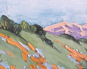 Impressionist Painting Plein Air Landscape California POPPIES and LUPINE Hillside Wildflowers Art Lynne French o/c 8x10