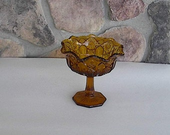 Vintage Amber Pressed Glass Compote