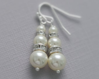 Bridesmaid Earrings, White Pearl Earrings, Bridal Earrings, Bridesmaid Earrings, Bridesmaid Gift, Swarovski Pearl Earrings, Wedding Earrings