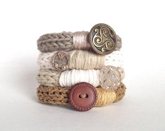Knitted Vintage Button Bracelet- Set of 4