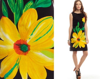 Floral Shift Dress 60s Mod Mini Black Graphic Print Hippie Boho Yellow Sleeveless Vintage 1960s Gogo Twiggy Sixties Minidress Small Medium