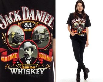 Jack Daniels Shirt Tennessee WHISKEY Tshirt 80s Black T Shirt Party Liquor 1989 Graphic Cotton Lynchburg TN 1980s Women Men Large