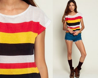 Sheer MESH Top Striped CAP SLEEVE Blouse Cut Out Knit T Shirt 90s Vintage Slouchy 80s Retro Red Yellow Black White  Small Medium Large