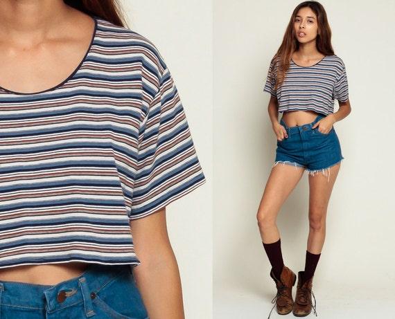 Cropped Tshirt Blue Striped Shirt Crop Top Cotton T Shirt 80s