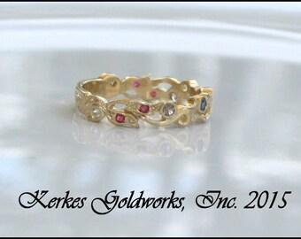 Sapphire Ruby Diamond floral gold wedding band handmade