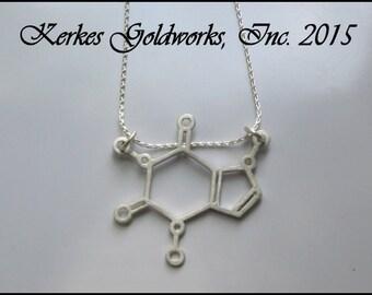 Caffeine Molecule Sterling Silver Pendant Handmade