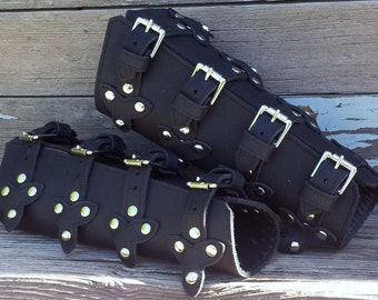 Oiled Black Leather Bracers with Top Straps, Scales and Antiqued Nickel Hardware
