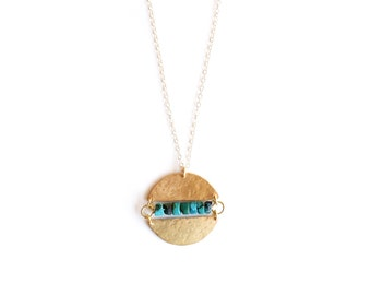 Lunar Necklace in Turquoise - Brass Moon Circle Pendant- goldfill