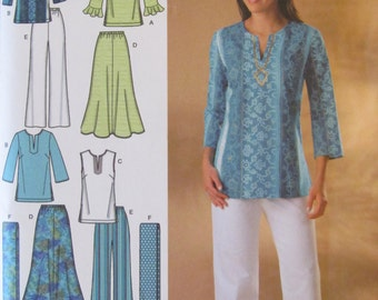 Simplicity 4149/Uncut Sewing Pattern/Misses/Women's Easy Sew Skirt, Pants, Tunic, Scarf/Size 10-12-14-16-18/2006