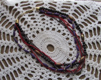 Beaded Necklace with Lots of Color Variations, 6 Strand, Beaded Bling, 20 in Necklace
