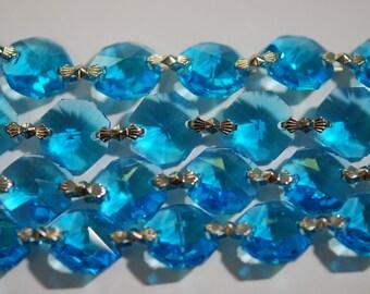 1 Yard (3 ft.) Chandelier Crystals Bead Garland Chain - Aqua -  Crystal - (S-19)