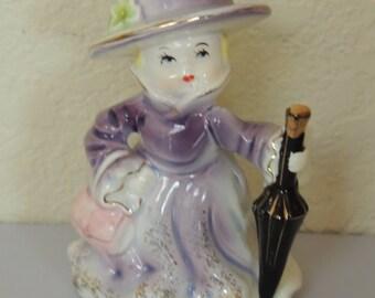 Vtg REICO Japan Lavender Girl Figurine
