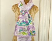 Lavender Landmarks Scarf Print Wrap Shawl Reversible Boho Womens Pom Pom Tassel Trim