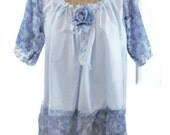 Blue Lace Tunic / Size Large / Ready To Ship / Boho Rose Print With Sleeves Womens Summer Mothers Day