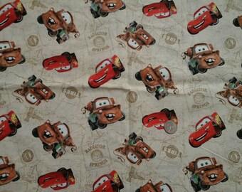 "SALE Disney's  Pixar Cars Novelty Print 100% Cotton Fabric Remnant 15"" X 43"""
