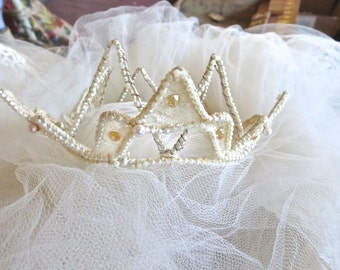 1940s Seed Pearl & Lace Wedding Crown Extra Long Split Veil With Tiara