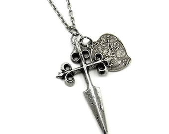 Medieval Crusades Inspired Necklace - A Wandering Weapon - with Pewter Cross Fitchy and French Sacred Heart