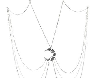 Pagan Gothic Body Jewelry - Luna Goddess Body Chain with Crescent Moon and Moonstone Rosary Chains