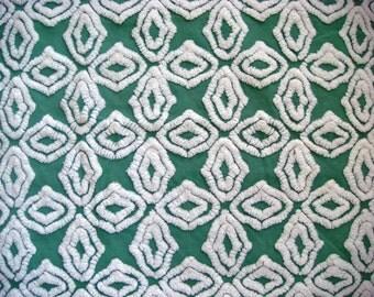 Hofmann Supertuft Green Gothic Cross Vintage Chenille Fabric 12 x 24 Inches