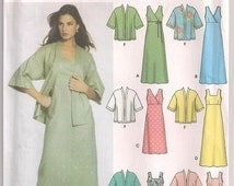 Pullover Dress Pattern, in two lengths, Kimono Jacket Pattern, Simplicity 5046, Plus Size Pattern,16 18 20 22 24,Uncut