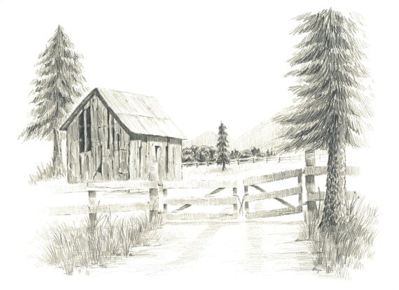 Old Ranch Barn Pencil Drawing 5x7 Print