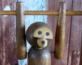 Articulated  Wooden Monkey on Bar