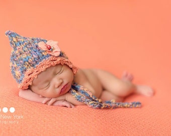 Crochet Trim Bonnet Baby Girl Newborn Hand Knit Chic Photo Prop Pixie Apricot READY to Ship Coming Home Hat Going Home Outfit Wool Organic
