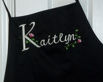 Apron Personalized with Name in  Elegant Floral Font on Black Apron
