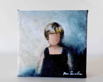 Girl In Blue - Small Original Painting