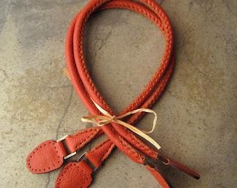 Handmade Leather Purse Bag Handles Rope Style Orange